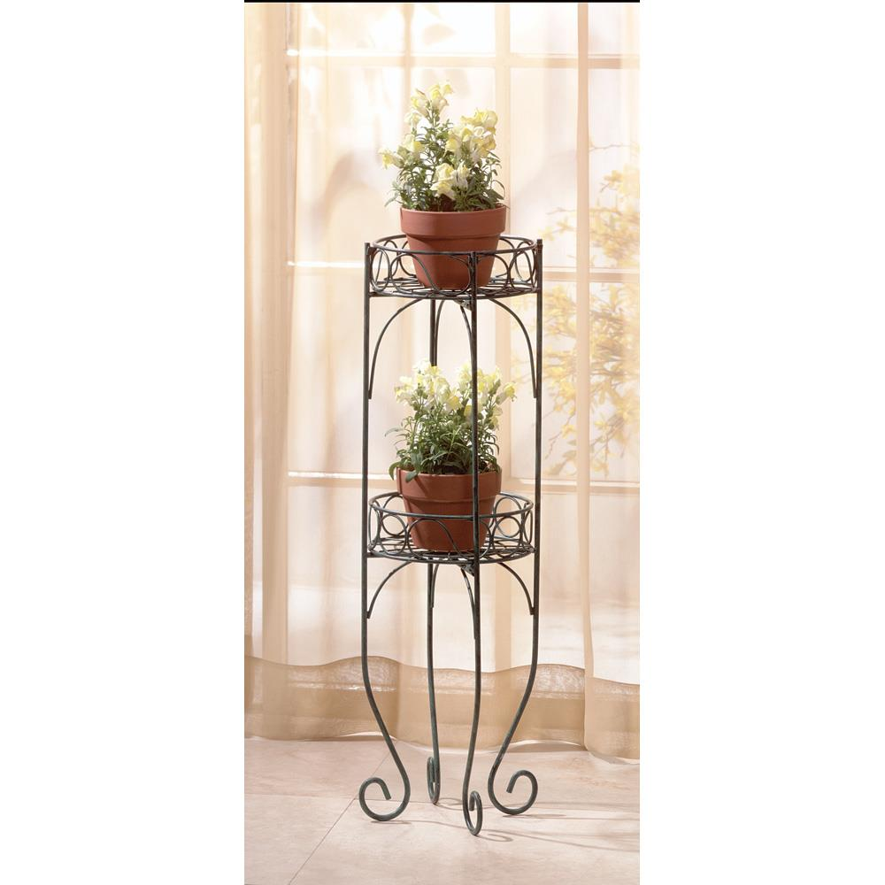 Decorative Antique Look Plant Stand and Flower Pot Holder with Two Round Shelves for Classic Sun Room Decor by Home 'n Gifts