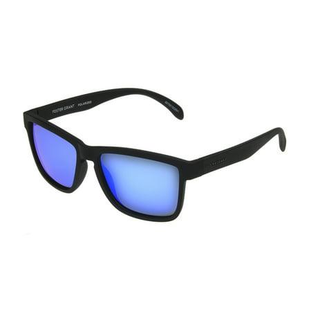 Foster Grant Men's Black Polarized Mirrored Retro Sunglasses LL05 - Black Retro Sunglasses