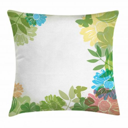 Green Flower Throw Pillow Cushion Cover, Floral Pattern Wildflowers Leaves and Butterflies Nature Inspired Illustration, Decorative Square Accent Pillow Case, 16 X 16 Inches, Multicolor, by Ambesonne (Square Butterfly Leaf)