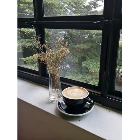 Canvas Print Window Sill Latte Window Coffee Dried Flowers Stretched Canvas 10 x 14 ()