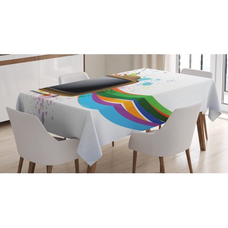 Vintage Rainbow Tablecloth, Old Television with Colorful Wavy Lines Color Splashes Media Communication, Rectangular Table Cover for Dining Room Kitchen, 52 X 70 Inches, Multicolor, by
