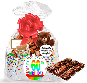 60th Birthday Anniversary Gourmet Food Gift Basket Chocolate Brownie Variety Pack Box Individually Wrapped 12pack