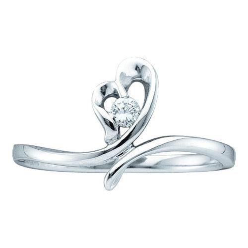 0.05Ctw Round Diamond Heart Womens Bridal Fixed Ring Size - 7
