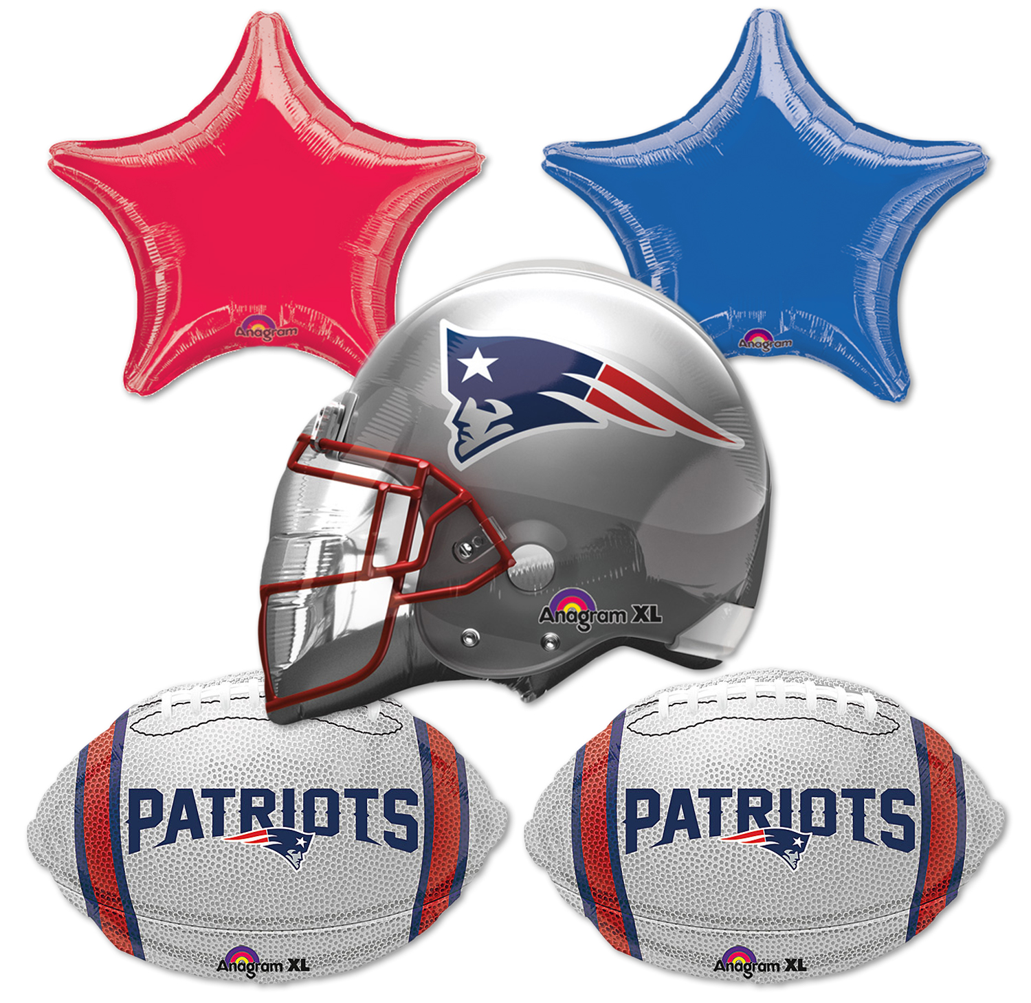 Anagram New England Patriots Football Bouquet 5pc Balloon Pack, Navy Silver Red