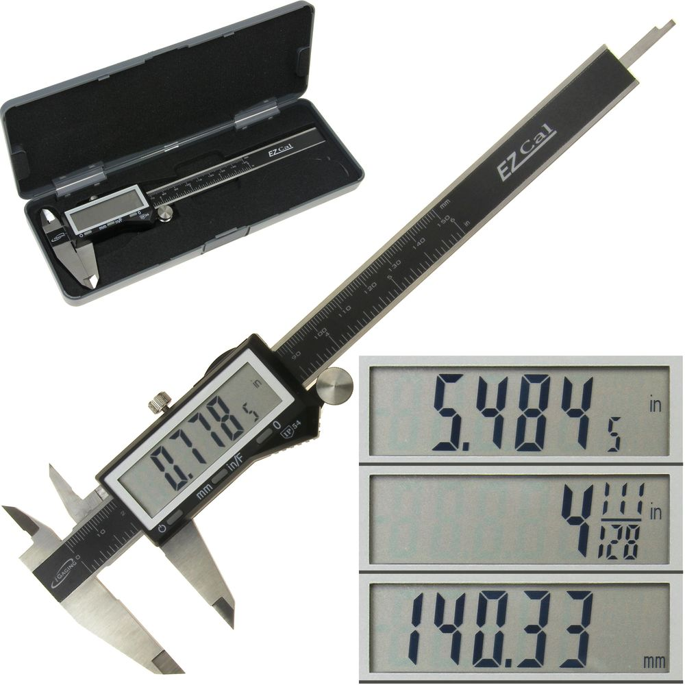 "iGaging Electronic Digital Caliper 0-6"" IP54 Protection Display Inch/Metric/Fractions Stainless Steel Body"