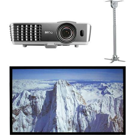 BenQ HT1085ST DLP Short-Throw Home Theater Projector, Elite Screens ER100DHD3 100