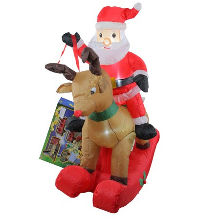 4.75' Inflatable Rocking Reindeer & Santa Lighted Christmas Outdoor Decoration - Reindeer Blow Ups