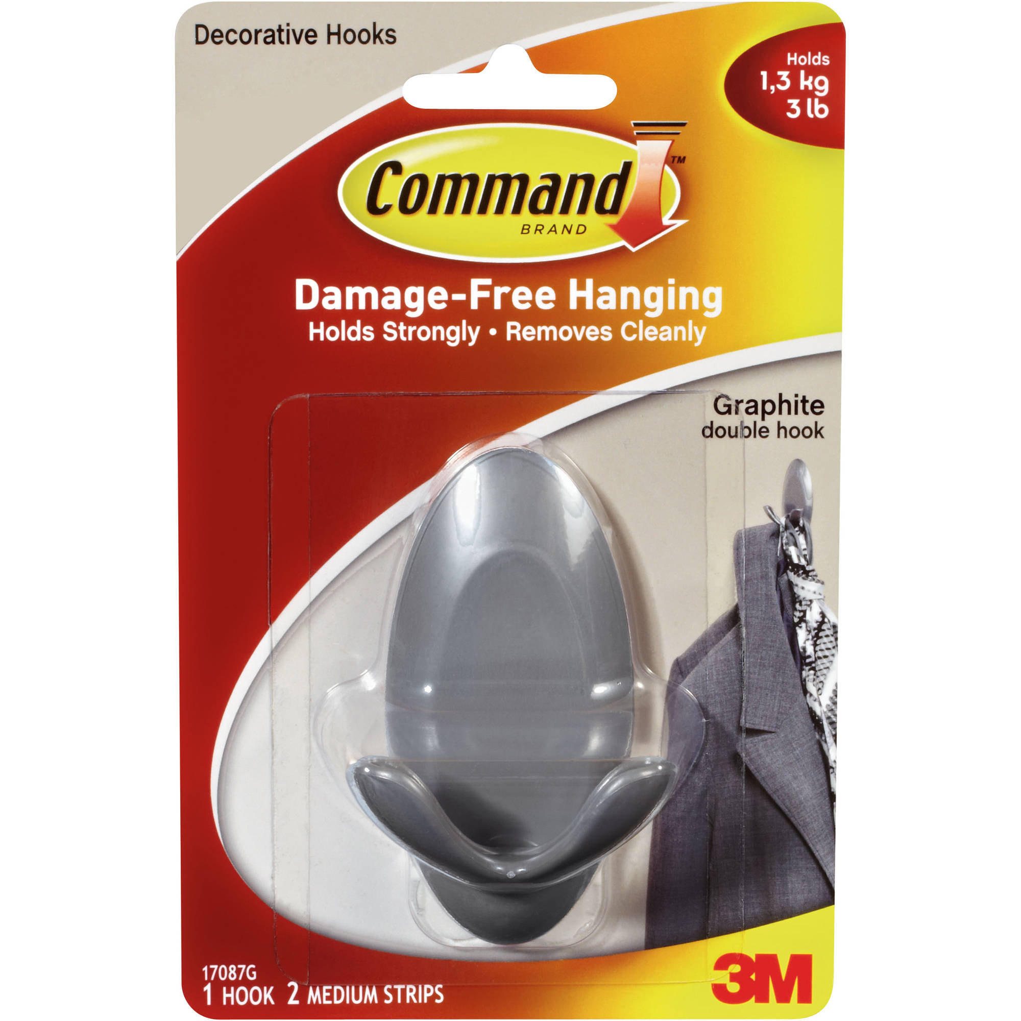 Command Graphite Double Hook, 1 Hook, 2 Strips, 17087G