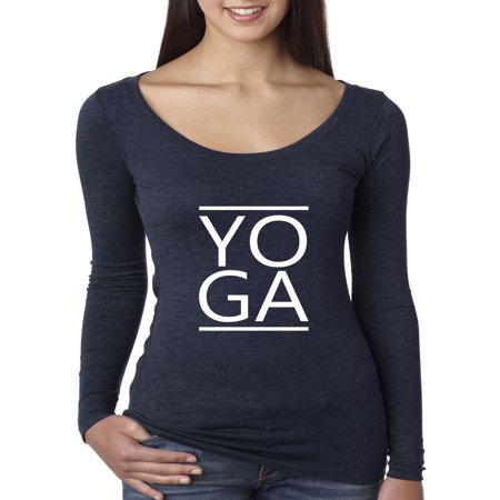 Trendy USA 1447 - Women's Long Sleeve T-Shirt YOGA Exercise Workout Fitness Cardio Gym Small Navy