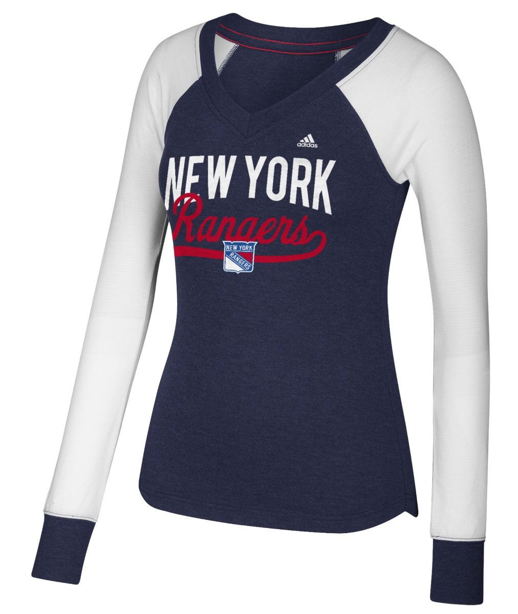 "New York Rangers Women's Adidas NHL ""Puck Drop"" Dual Blend Long Sleeve T-shirt by Adidas"