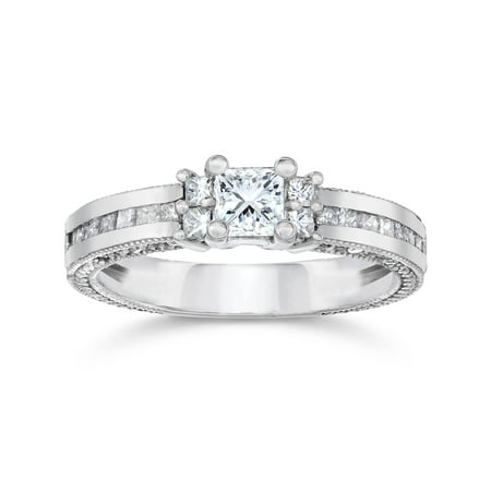 1ct Vintage Heirloom Princess Cut Diamond Ring 14K White (Princess Cut Diamond Ring Guard)