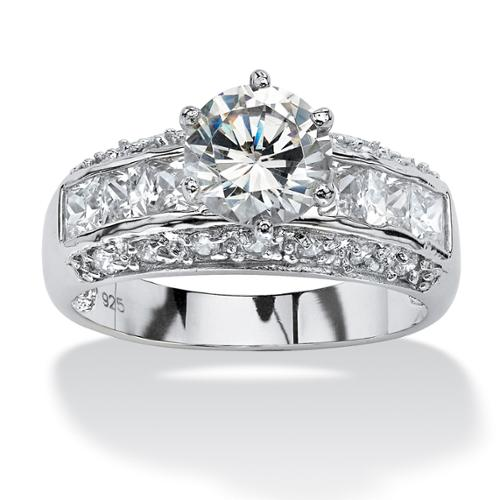 2.99 TCW Round Cubic Zirconia Engagement Anniversary Ring in Platinum over Sterling Silver - Size 7