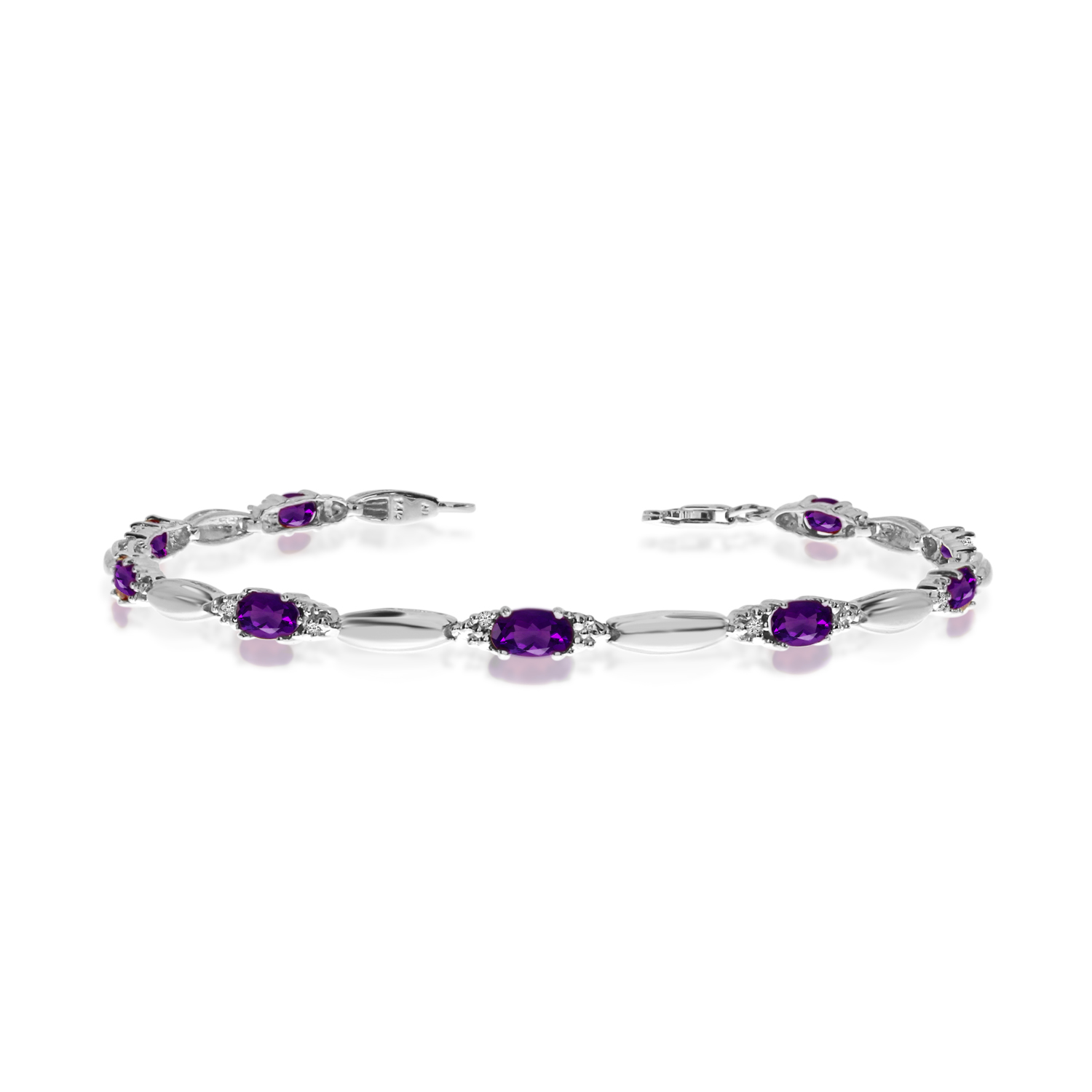 10K White Gold Oval Amethyst and Diamond Bracelet by