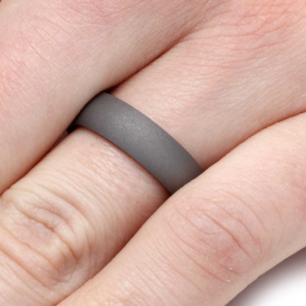 Tulip Wood Ring, Sandblasted Titanium Wedding Band, 6 MM - Walmart.com