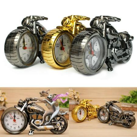 Cool Motorcycle Design Quartz Clock Alarm Clock Time Keeper Toy Timepiece Desktop Decor Fashion