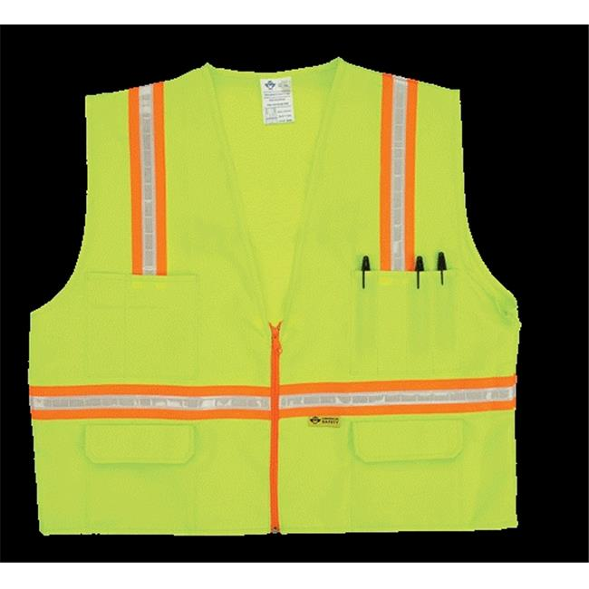 2W 8048-A XL Multi-Pocket Surveyor Vest - Lime, Extra Large