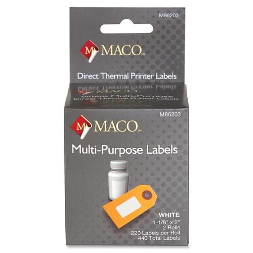 "Maco Direct Thermal Printer Labels - 1.13"" Width X 2"" Length - 2 / Box - 220/roll - Direct Thermal - Bright White (M86203)"