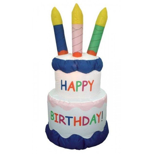 BZB Goods Inflatable Cake with Candles Happy Birthday Decoration