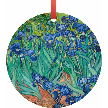 Artist Vincent Van Gogh's Irises  Flat Round - Shaped Christmas Holiday Hanging Tree Ornament Disc Made in the U.S.A.