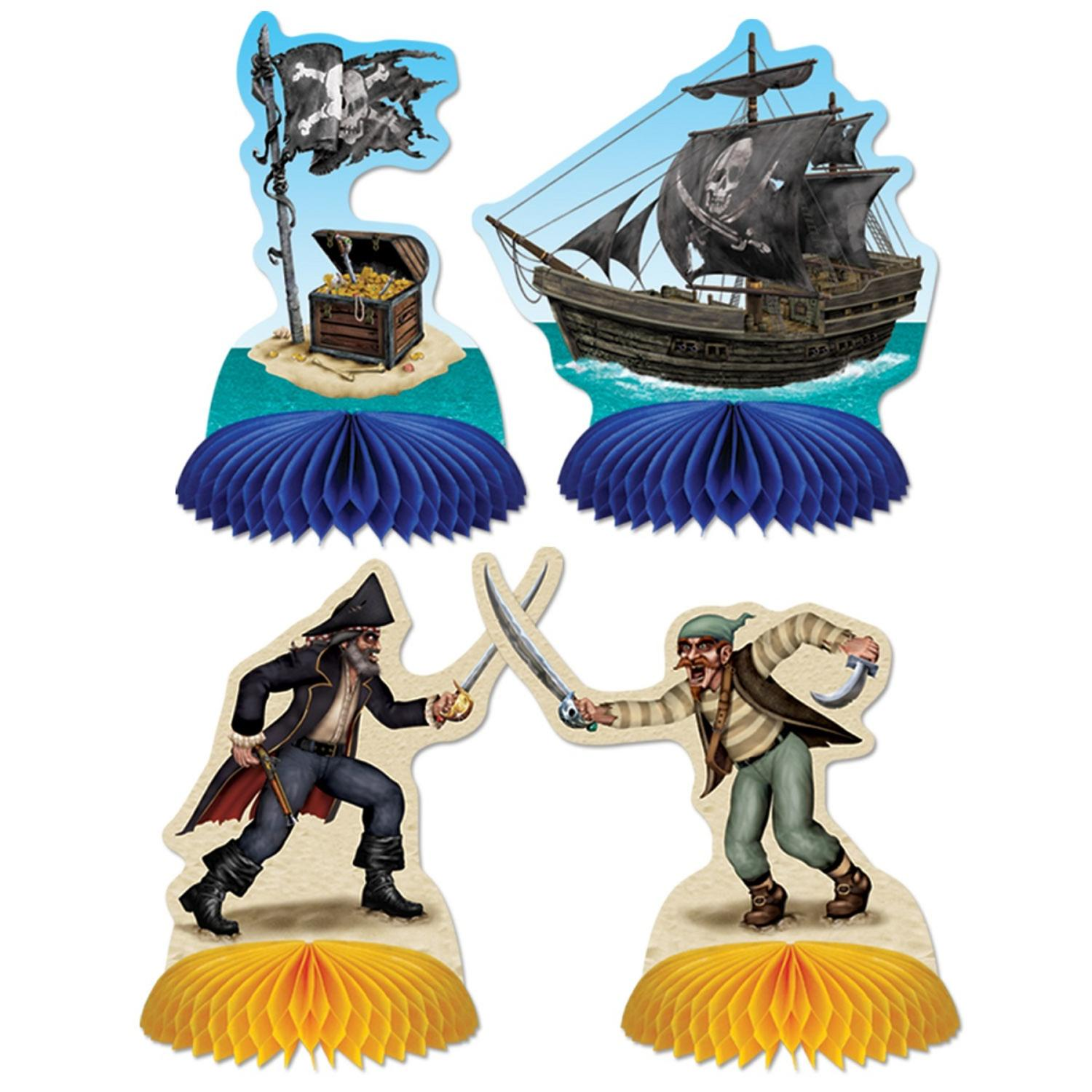 """Club Pack of 48 Blue and Yellow Pirate Playmates Centerpieces 5.5"""""""