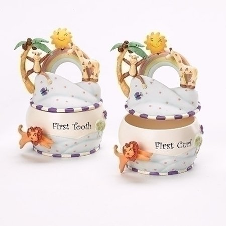 "Keepsake Set-God Created Everything-First Curl & First Tooth (4.5"" H) (Set Of 2)"