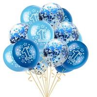 "matoen 15pcs 12"" Foil Latex Confetti Balloon Baby One Year Old Happy Birthday Party"