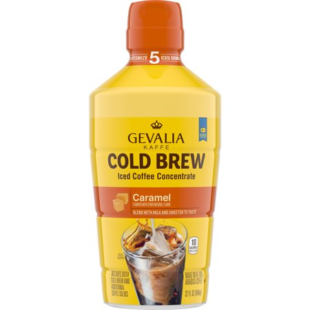 Gevalia Caramel Cold Brew Iced Coffee Concentrate, Caffeinated, 32 fl oz