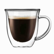 JoyJolt Serene Double Wall Coffee Mug, Tea Glass 5.4 oz (Set of 2)