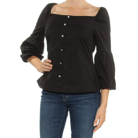 INC Womens Black Embellished Bell Sleeve Square Neck Peasant Top  Size: M