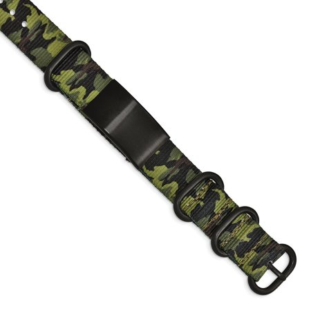 0.75mm Stainless Steel Brushed Blk Ip Green Camo Fabric Adjustable ID Bracelet thumbnail