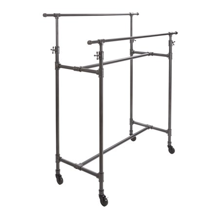 Econoco Pipeline Adjustable Double Bar Box Rack, Anthracite (Anthracite Bar)