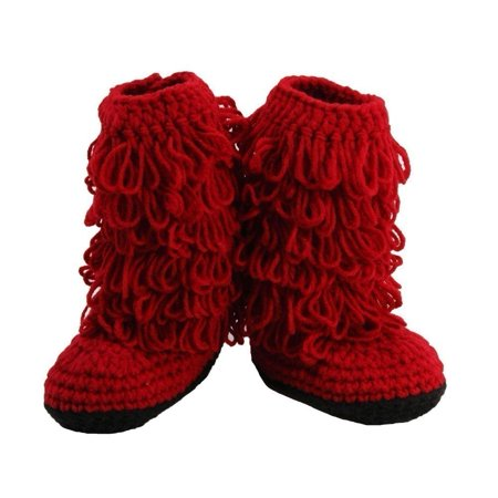 Baby Girls Red Crochet Button Up Fringe Boots - Red Boots For Girls
