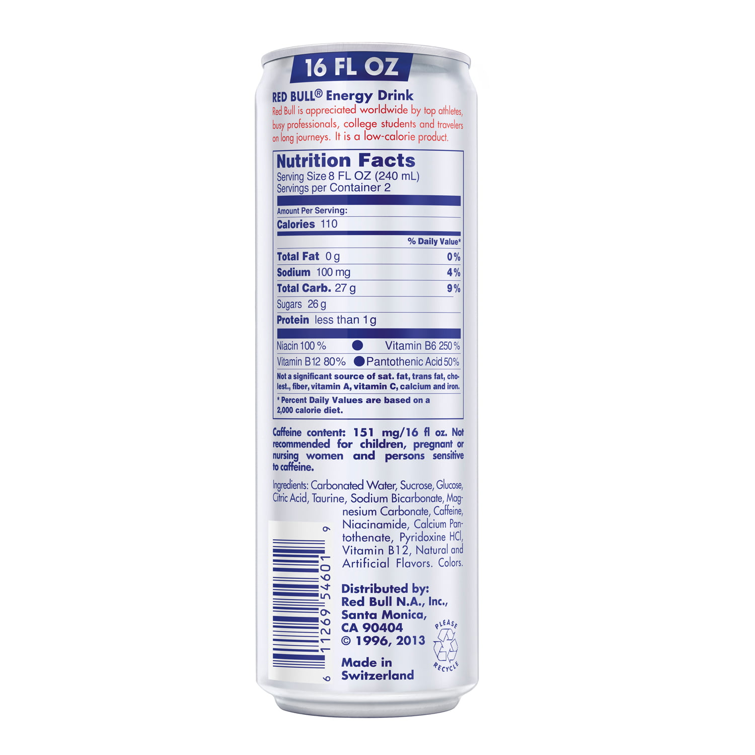 Red Bull Nutrition Label Caffeine – Nutrition Ftempo