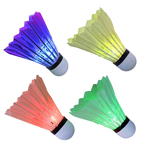 Set of 8 Colorful LED Badminton Shuttlecock Night Glow Birdies Outdoor Fun