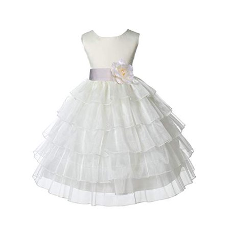 Ekidsbridal Ivory Satin Shimmering Organza Flower Girl Dress Holy Baptism Dress First Communion Dress Easter Summer Dresses Special Occasion Dresses Pageant Gown Holiday Dresses Daily Dresses 308S