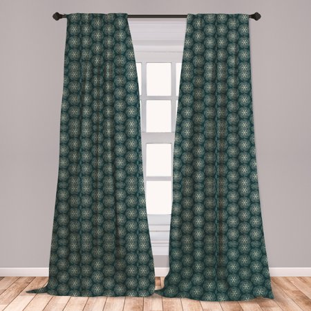 Victorian Curtains 2 Panels Set, Vintage Stars and Abstract Geometric Swirls Pattern Timeless Motifs, Window Drapes for Living Room Bedroom, Dark Teal and Pale Green, by Ambesonne ()
