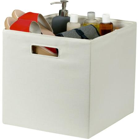 Better homes gardens cream fabric storage bin with handle for Better homes and gardens storage bins