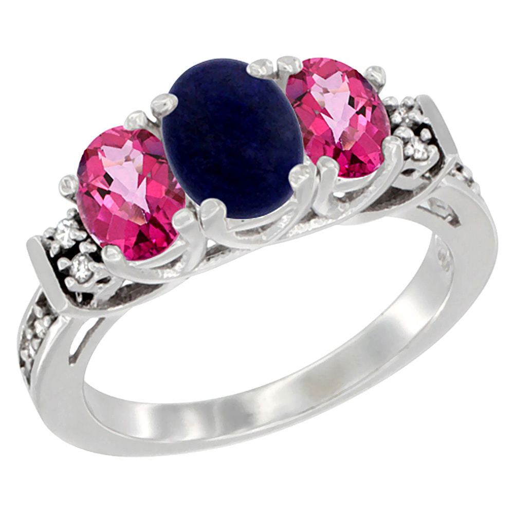 10K White Gold Natural Lapis & Pink Topaz Ring 3-Stone Oval Diamond Accent, sizes 5-10 by WorldJewels