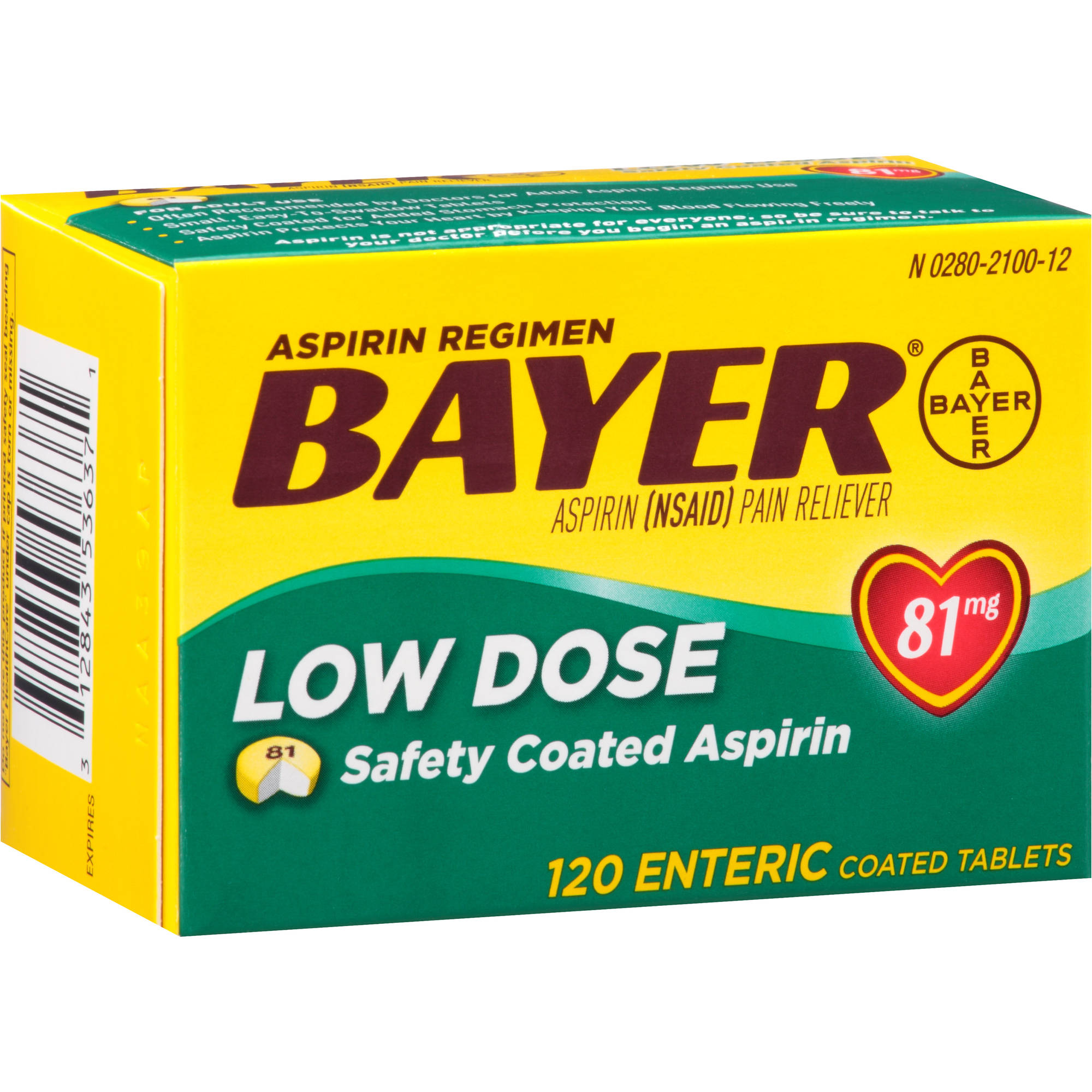 Bayer Low Dose Aspirin Enteric Coated Tablets, 81mg, 120 count