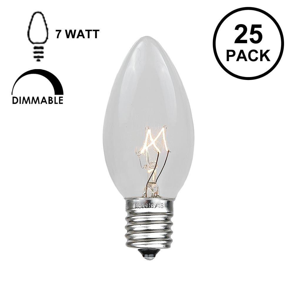 Novelty Lights 25 Pack C9 Outdoor Christmas Replacement Bulbs, E17/C9 Base, 7 Watt