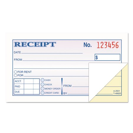 Money and Rent Receipt Books, 2-3/4 x 4 7/8, 2-Part Carbonless, 50 Sets/Book