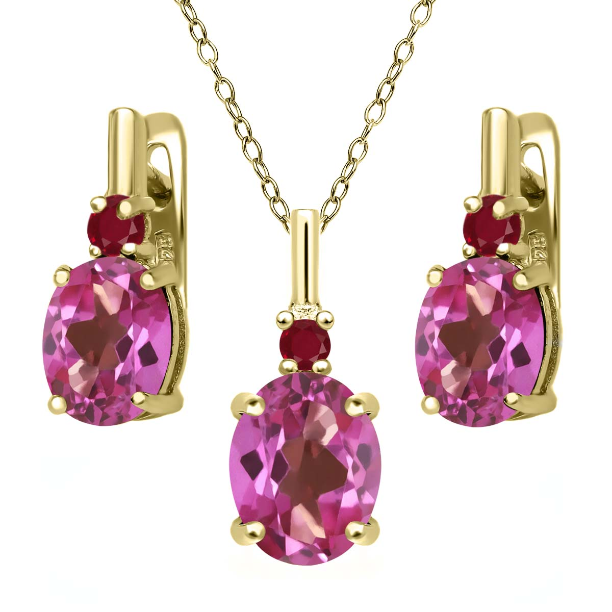 7.02 Ct Pink Mystic Topaz Red Ruby 18K Yellow Gold Plated Silver Pendant Earrings Set by