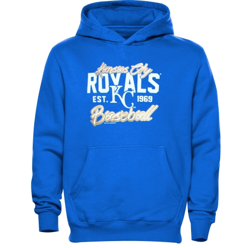 Kansas City Royals Youth Script Baseball Pullover Hoodie - Royal Blue