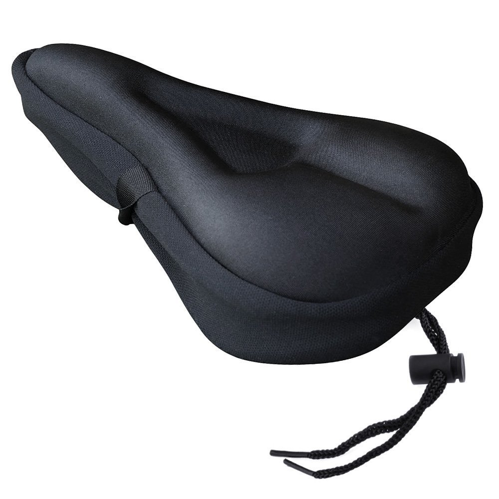 VicTsing Extra Soft Gel Bicycle Seat Cushion, Bike Saddle Cushion with Water and Dust Resistant Cover Black