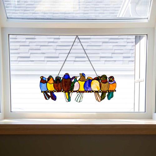 River of Goods 'Birds On A Wire' Tiffany Style Stained Glass Window Panel