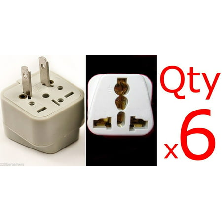 6 Pack Universal North American Plug Adapter Euro Asia Plug to USA style Plug