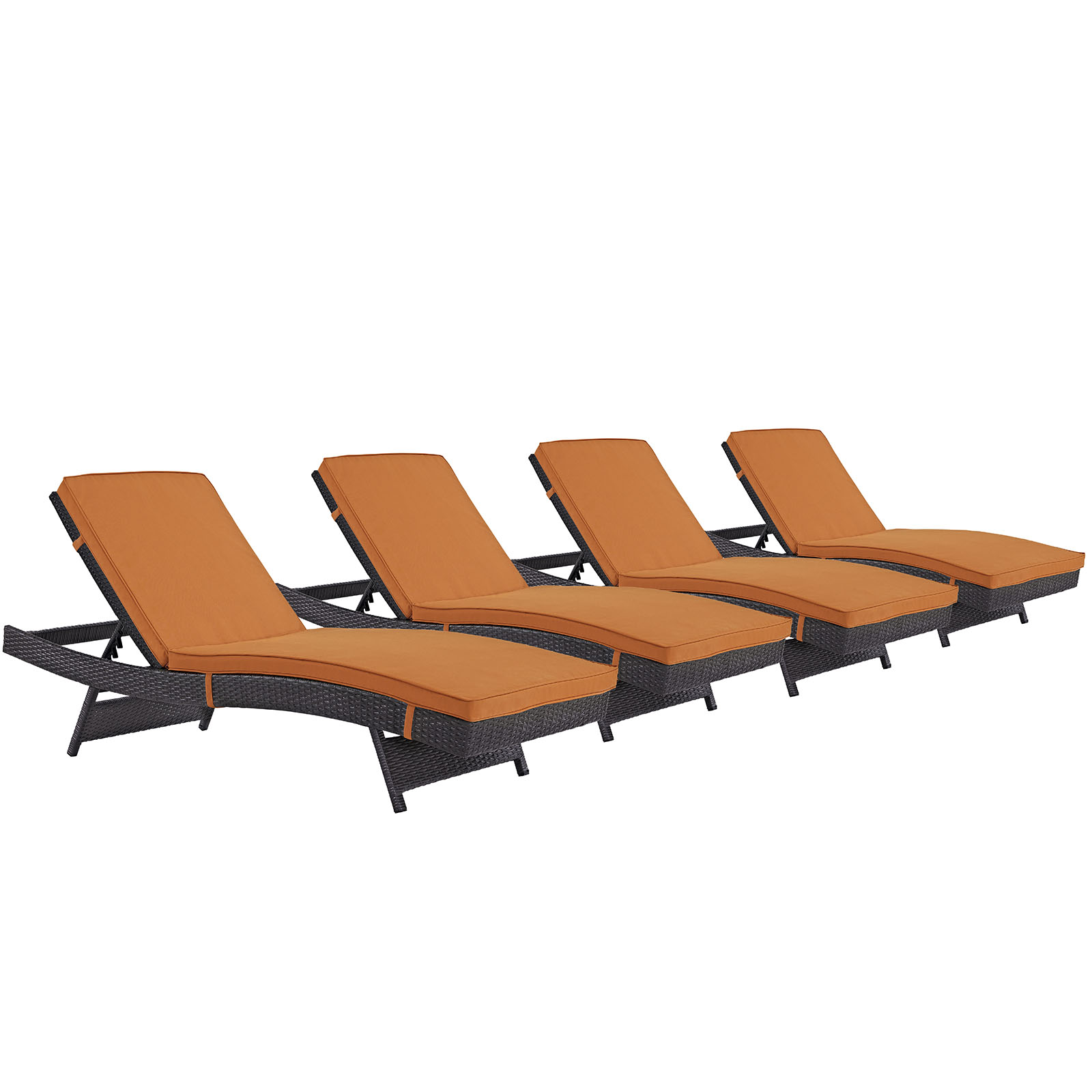Modern Contemporary Urban Design Outdoor Patio Balcony Chaise Lounge Chair ( Set of 4), Orange, Rattan