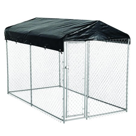 AKC® American Kennel Club® 5ft x 10ft x 6ft High Galvanized Chainlink Dog Kennel with Roof, Waterproof Cover and Free Training Guide