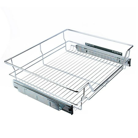 kitchen sliding cabinet organizer vbestlife pull out chrome wire storage basket drawer kitchen. Black Bedroom Furniture Sets. Home Design Ideas