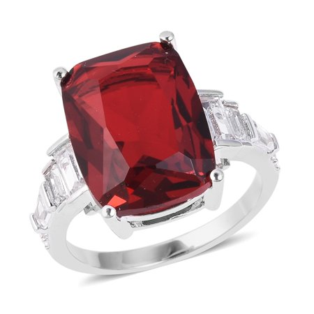 Statement Ring Red Glass White Cubic Zirconia CZ Gift Jewelry for Women Ct -
